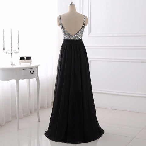 Evening dresses black chiffon sexy backless long ball gown E26
