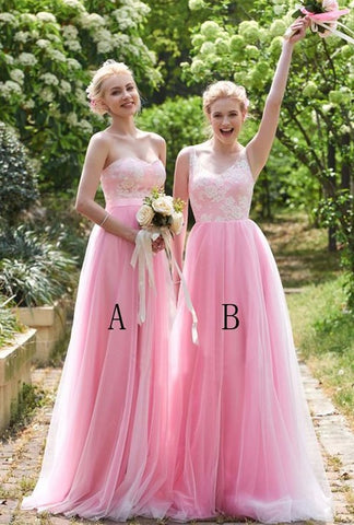 Floor-length A-line straps sleeveless lace pink bridesmaid dresses R22