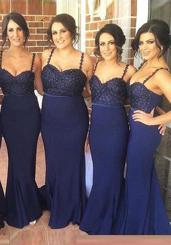 Gorgeous navy spaghetti strap bridesmaid dresses lace beading R08