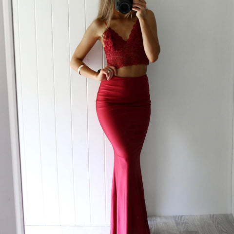 Gorgeous red lace two pieces mermaid V-neck prom dresses B98
