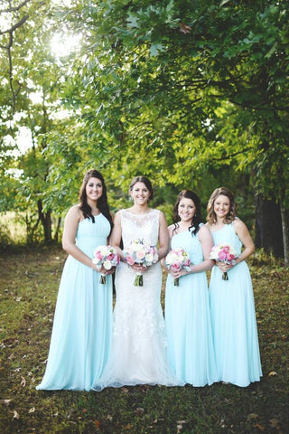 Green long one-shoulder chiffon mint bridesmaid dresses R17