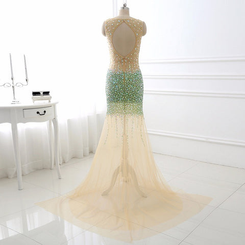Heavy beaded V-neck sexy evening formal dresses tulle mermaid E47