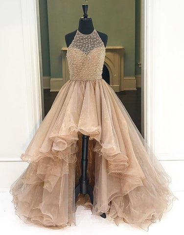 High-low halter beading prom dresses Tulle evening dress B76