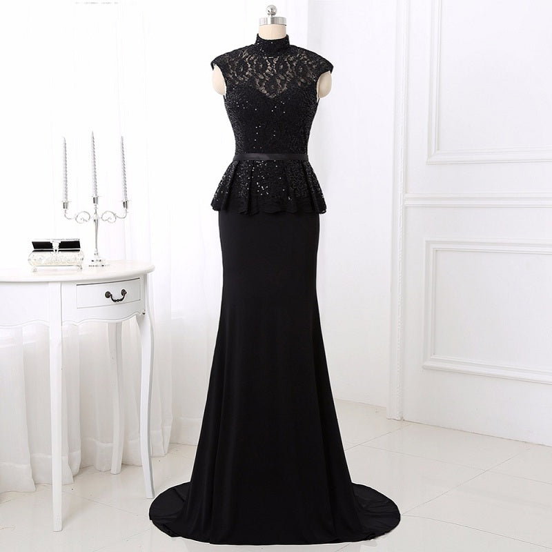 High collar jersey evening dresses sexy lace ball gown E17. Sale 7a17a6145