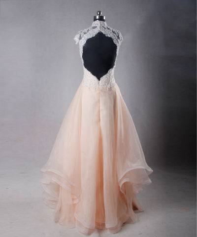 High neck sexy lace backless dresses pink organza ball gown B25