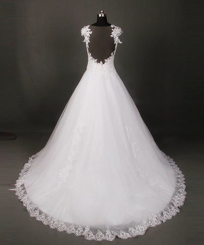 High quality A-line wedding dresses sheer neck lace dress W12