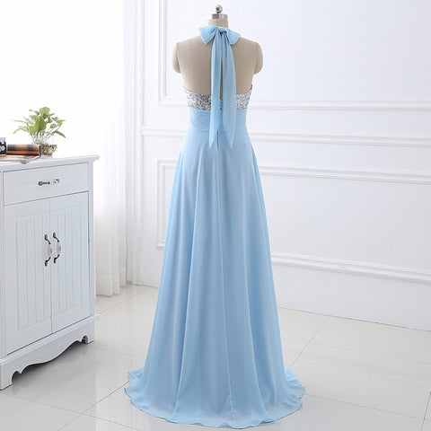 High quality sequin A-line evening dresses deep V-neck chiffon E37