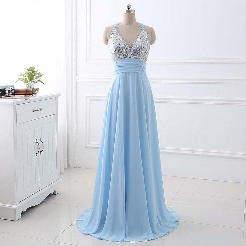 High quality sequin A-line evening dresses deep V-neck chiffon E37. Sale a84d2b9f5