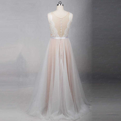 Illusion A-line wedding dresses tulle simple beach dress W05