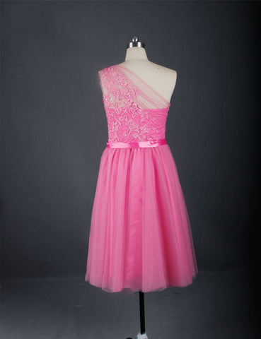 Knee-length short party dresses pink one shoulder satin dress T14