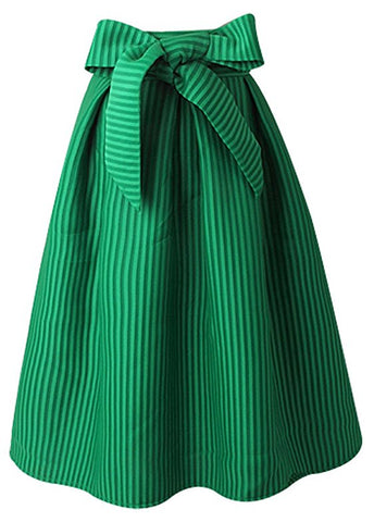 Knee length vintage stripe skirt ladies A-lines pleated skirt S42