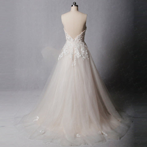 Lace appliques A-line wedding dresses tulle strapless dress W09