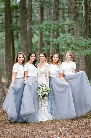 Lace short-sleeve long silver white bridesmaid dresses R16