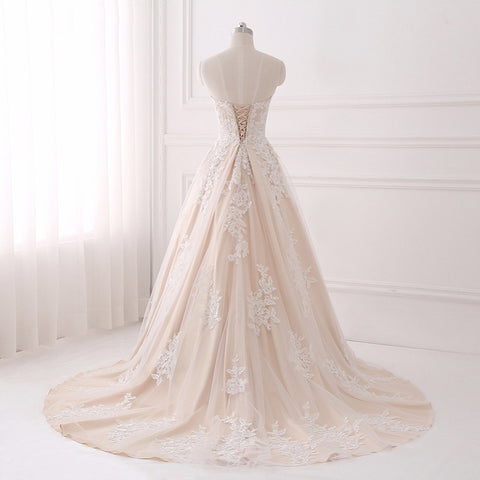Lace up princess wedding dresses long strapless dress D77