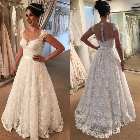 Lace wedding dresses A-line bridal gowns B21