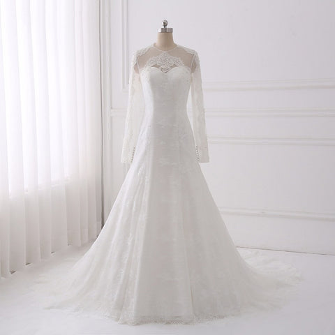 Lace wedding dresses mermaid O-neck long sleeves dress D89