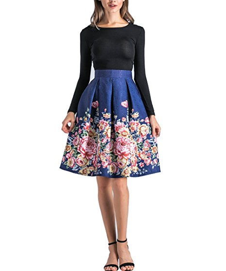 caeddefab Ladies floral skirt with Knee-length pleated skirt A-Line skirt S30