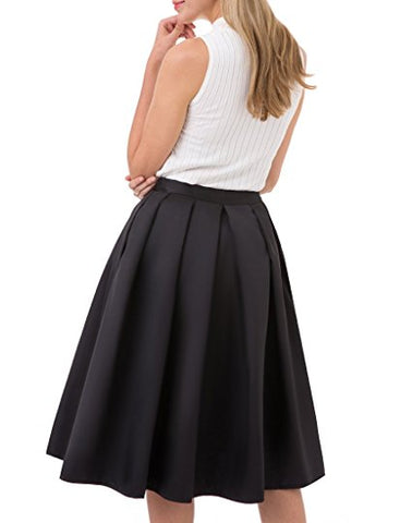 Ladies knee-length satin skirt with pockets pleated skirt S02