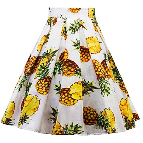 Ladies pleated floral skirt rockabilly knee length elegant skirt S37
