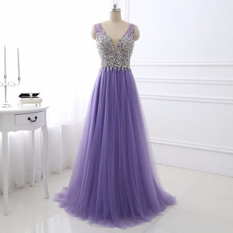 Light purple V-neck evening dress sexy tulle ball gown E30