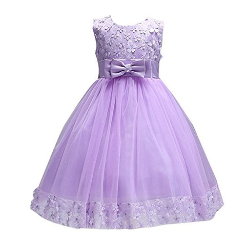 Little girl sleeveless lace tulle flower girl dress S71