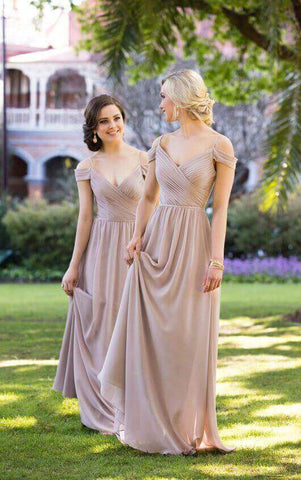 Long off-the-shoulder sexy brown chiffon bridesmaid dresses R15