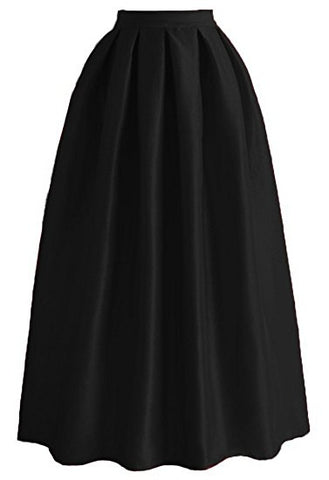 Long skirt ladies pleated skirt satin maxi skirt A-lines S18