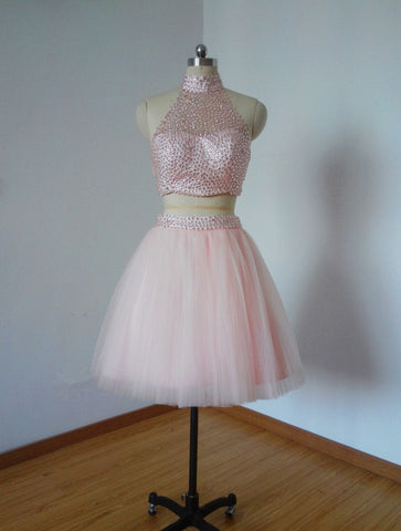 Lovely halter beading short tulle cocktail dresses two piece T23
