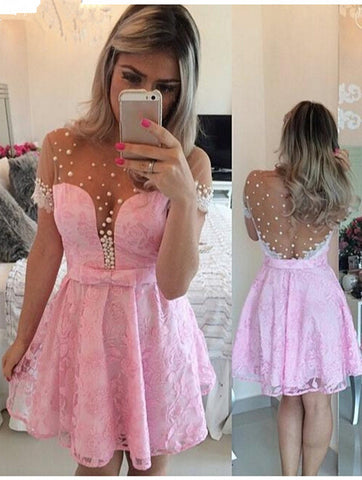 Lovely pink cap sleeve cocktail dress lace pearls T46