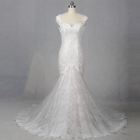 Luxury backless lace cap sleeve mermaid wedding dresses W10