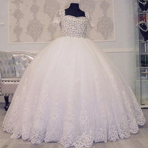 Luxury flower girl dresses crystal beading pageant tulle dress F01