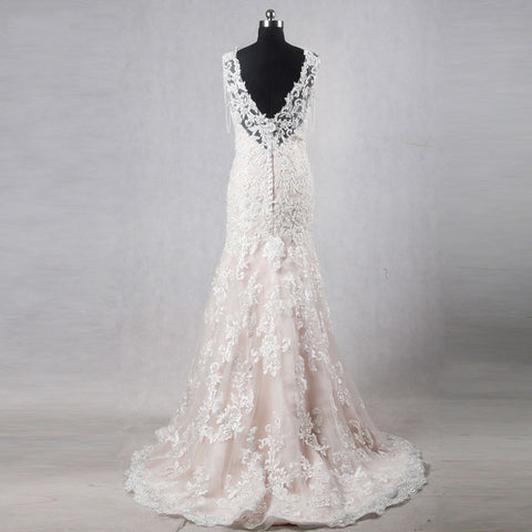 Mermaid lace wedding dresses sleeveless appliques dress W08
