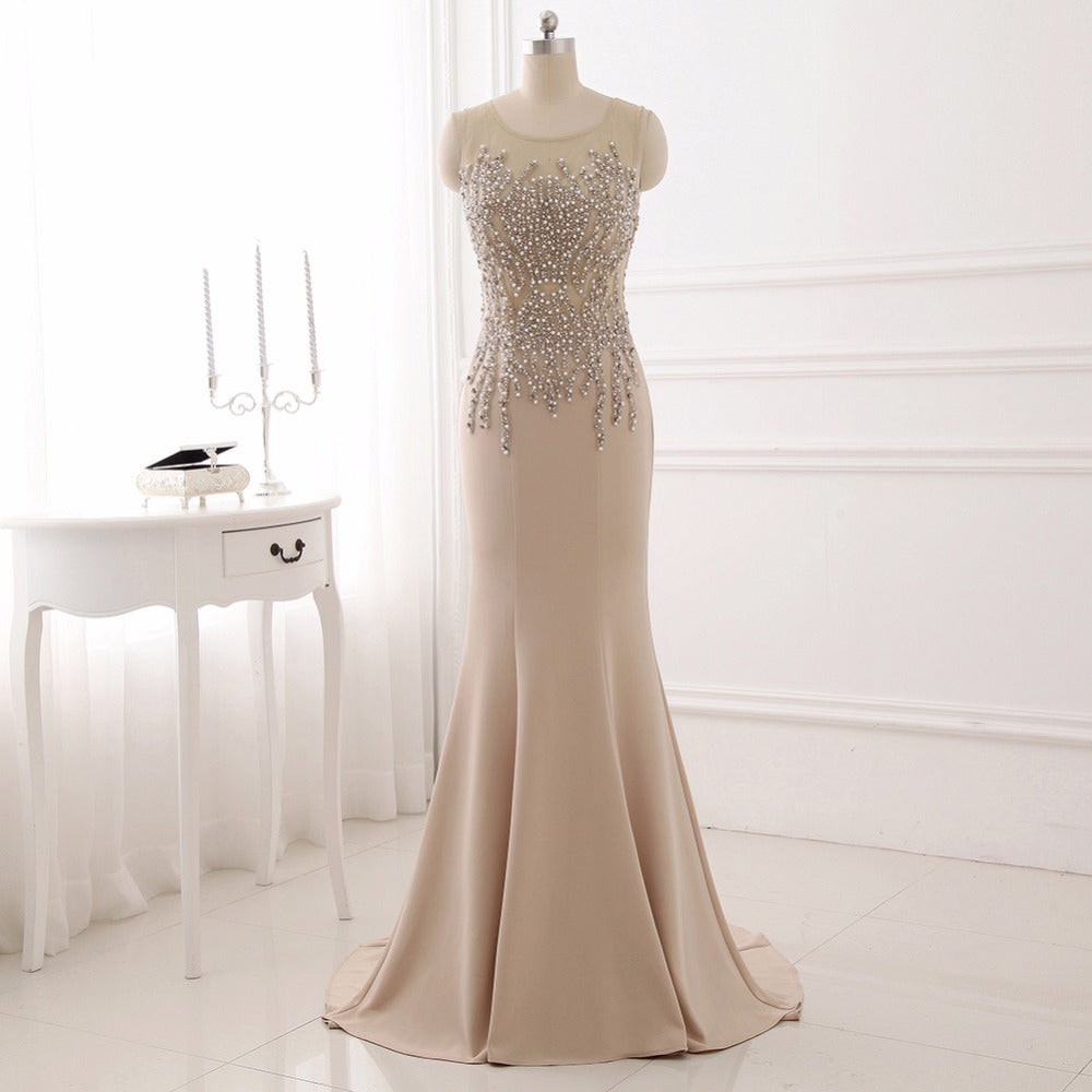 Mermaid sleeveless evening dresses long satin ball gown for sale ...