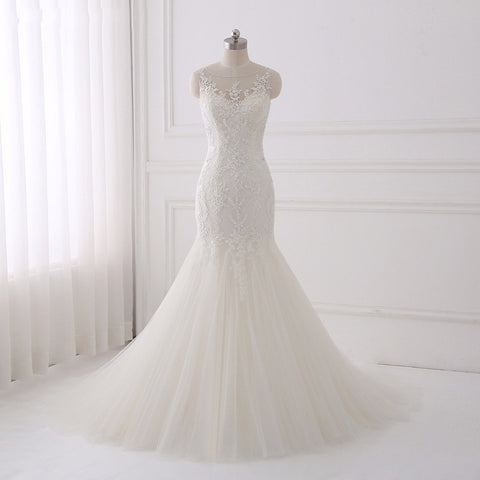 Mermaid wedding dresses plus size tulle asymmetrical dress D59