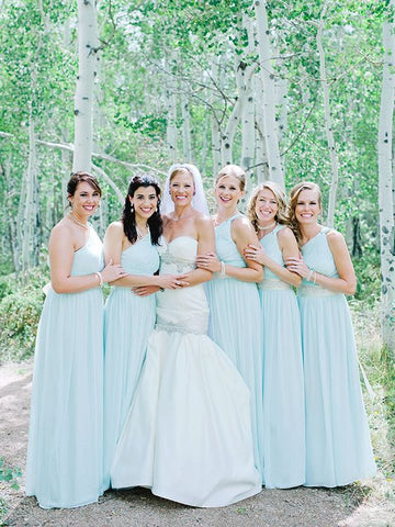 Mint long one-shoulder fashion chiffon green bridesmaid dresses R18