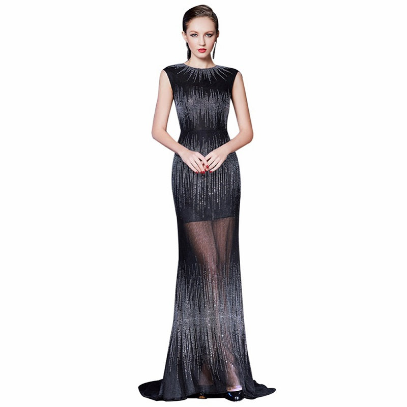 O-neck black evening dresses tulle crystal ball gown for sale ...