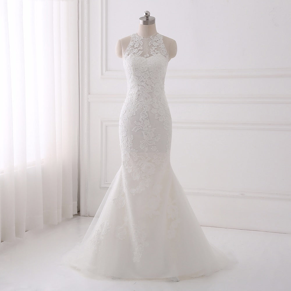 Shop O-neck mermaid wedding dresses lace tulle asymmetrical dress ...
