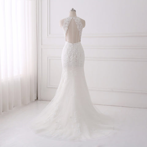 O-neck mermaid wedding dresses lace tulle asymmetrical dress D87