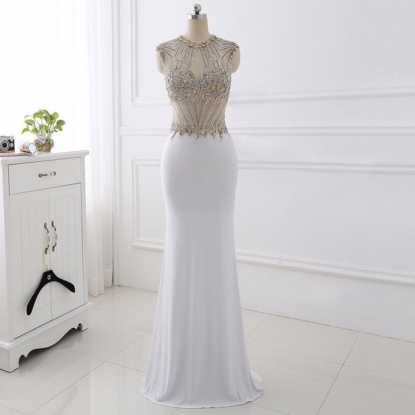 O-neck sexy ball gown mermaid Jersey evening dresses for sale – CCoutueChen d3cfb1d32