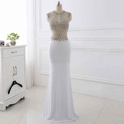 O-neck sexy ball gown mermaid Jersey evening dresses E23