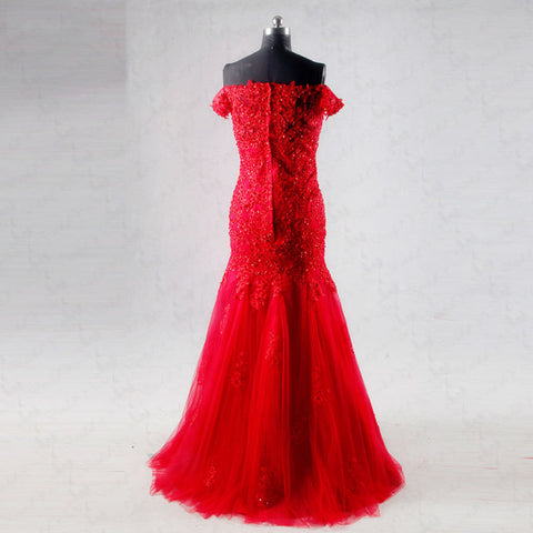 Off shoulder lace evening dresses red mermaid tulle ball gown B11