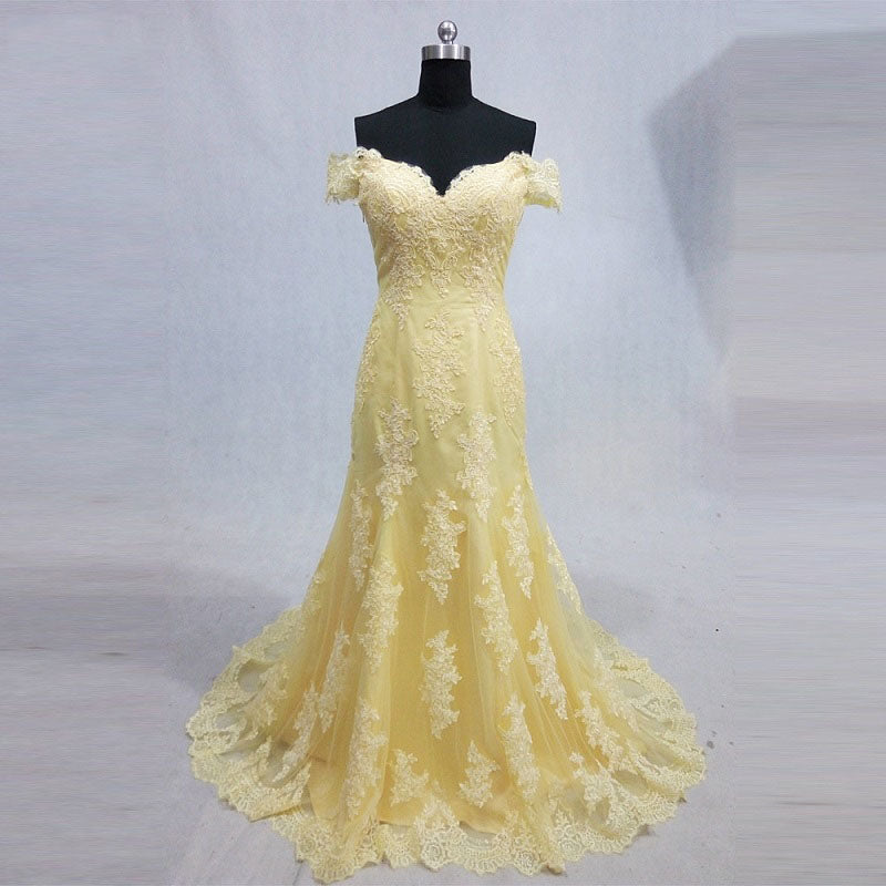 Shop Off shoulder lace formal dresses tulle yellow mermaid ball gown ...