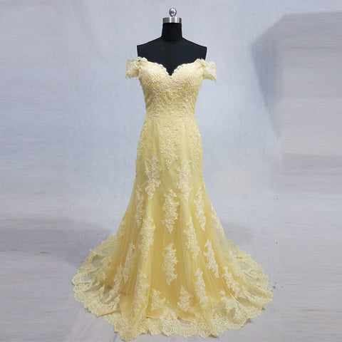 Off shoulder lace formal dresses tulle yellow mermaid ball gown B12