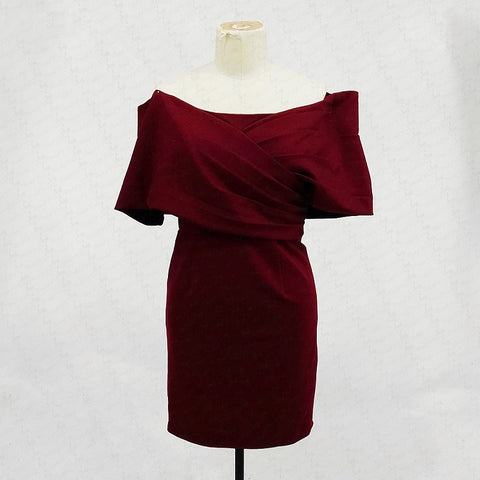 Off the shoulder cocktail dresses burgundy knitting homecoming dress T10