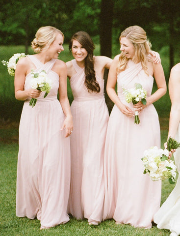 Pink long halter cheap sheath bridesmaid dresses R14