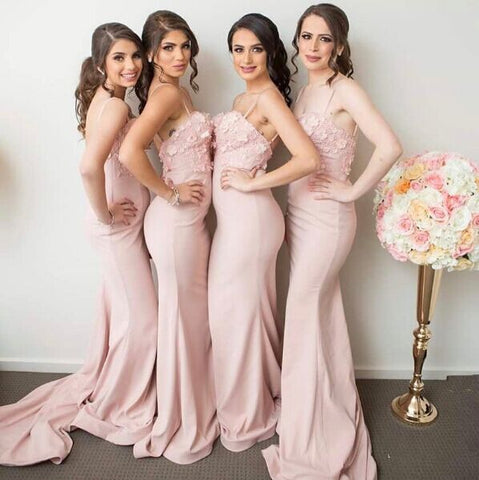 Pink mermaid floral-appliques straps bridesmaid dresses R23