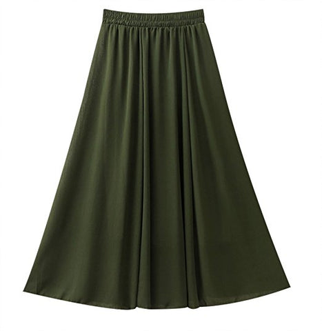 Pleated retro long chiffon skirt solid color S78