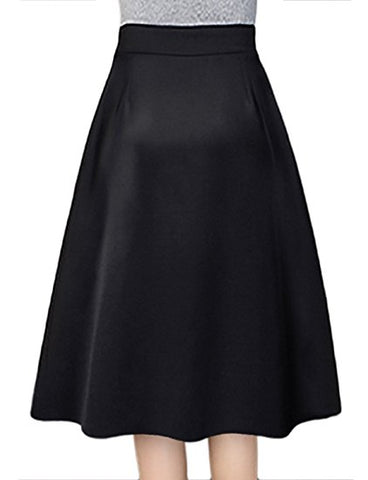 Pleated skirt women knee length winter skirt A-line S13