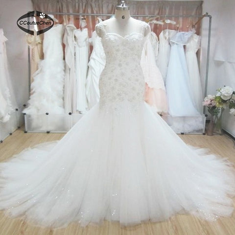 Plus size mermaid wedding dresses lace asymmetrical dresses D10