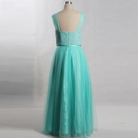 Plus size long tulle mint green bridesmaid formal dresses B31